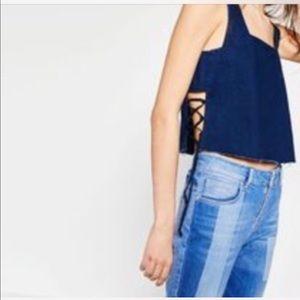 Zara denim crop top with cords